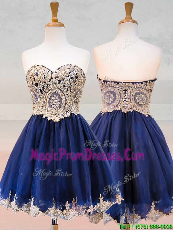 Fashionable Organza Applique with Beading Prom Dresses in Royal Blue