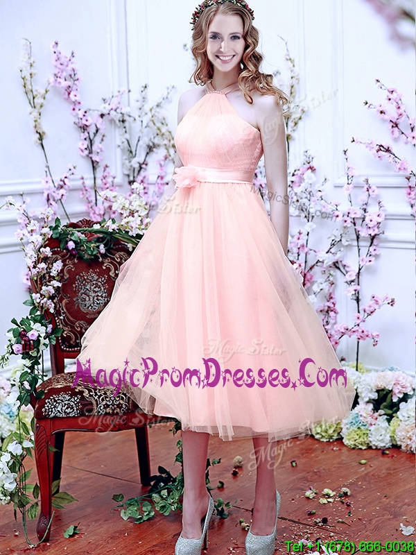 Beautiful Halter Top Baby Pink Prom Dress with Hand Made Flowers