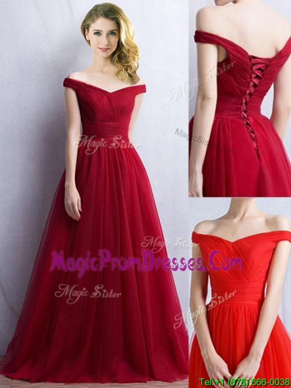 Elegant Off the Shoulder Cap Sleeves Prom Dress in Wine Red