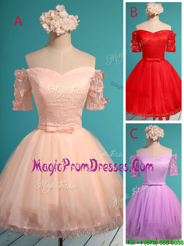 Elegant Off the Shoulder Short Sleeves Prom Dress with Appliques and Belt