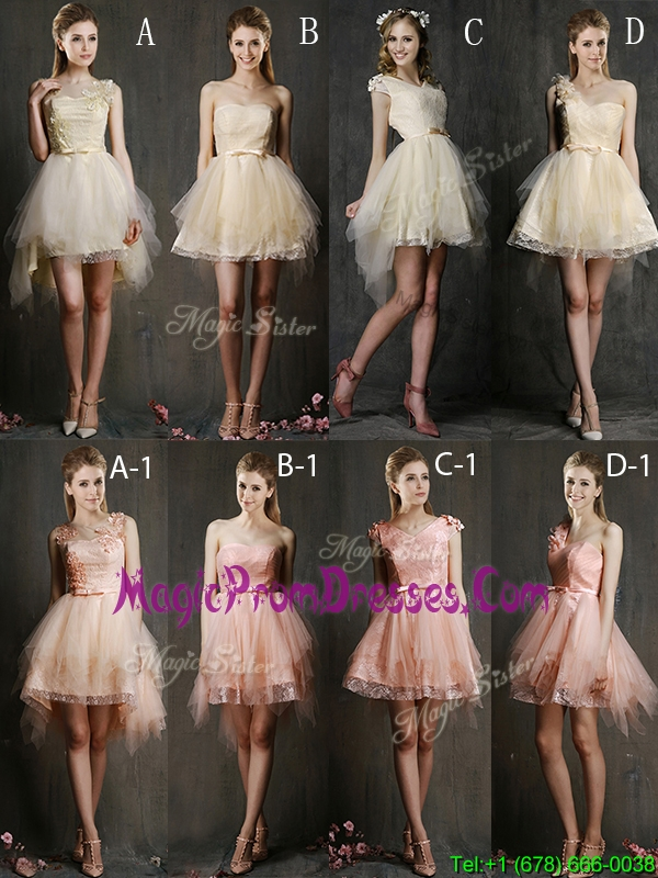 Hot Sale Mini Length Tulle Prom Dress with Belt