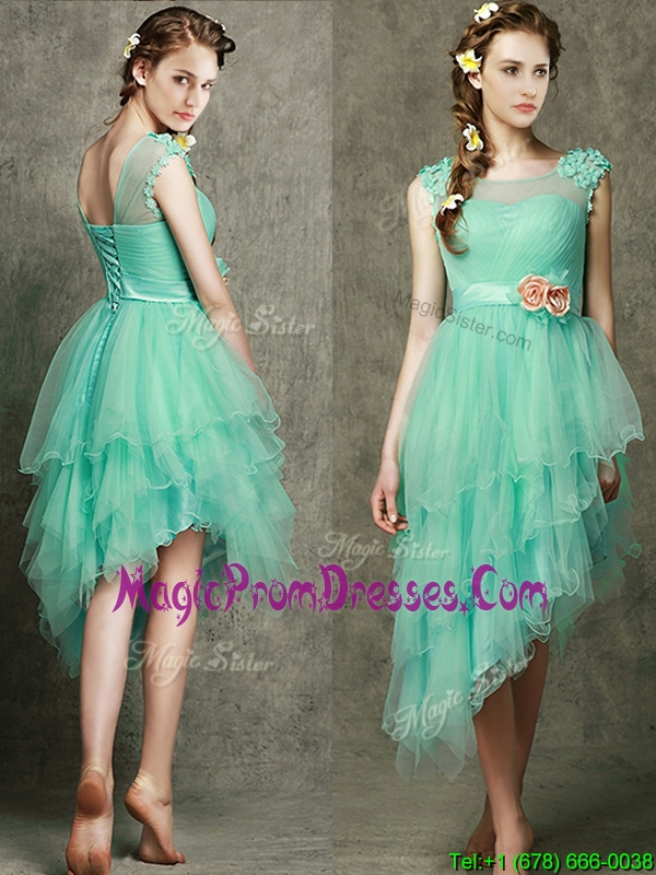 See Through Scoop Prom Dress with Appliques and Hand Made Flowers