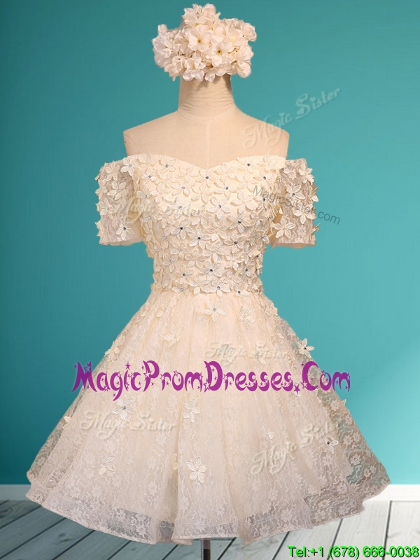 Beautiful White Off the Shoulder Short Sleeves Prom Dress with Appliques and Beading