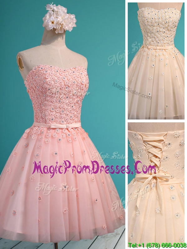 Exquisite Applique and Beaded Sweetheart Prom Dress in Mini Length