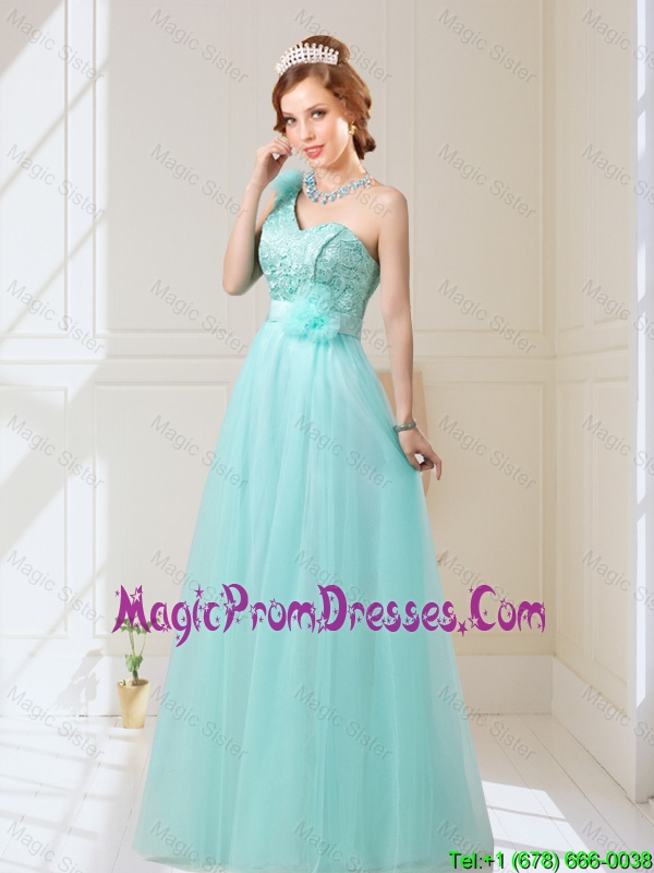 Classical Empire Lace Up Hand Made Flowers Prom Dress in Mint