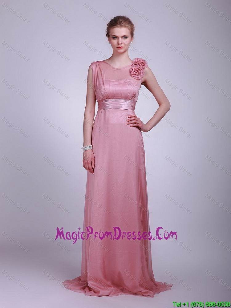 2016 New Arrivals Hand Made Flowers and Belt Prom Dress in Pink
