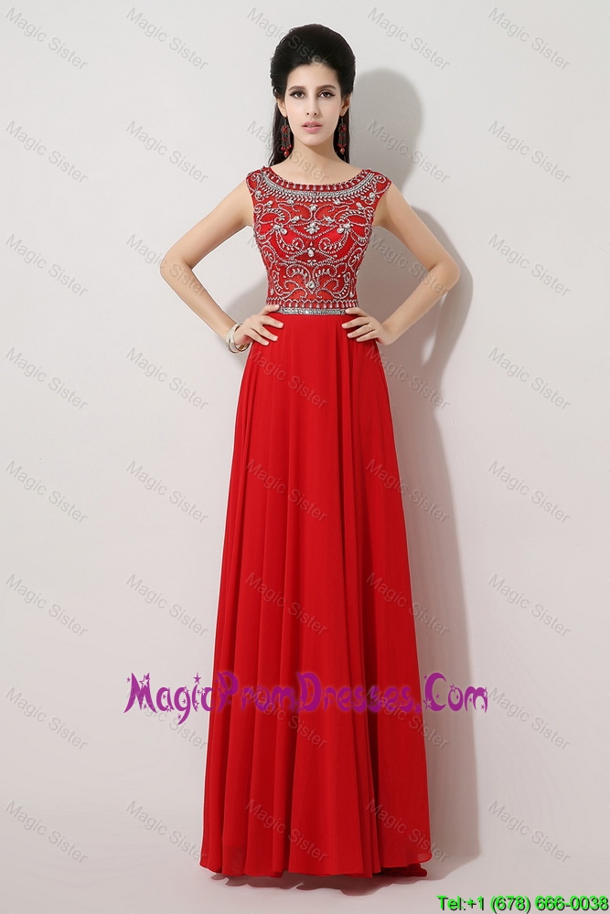 Cheap Brush Train Beaded Prom Dresses with Bateau