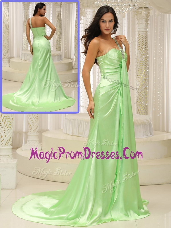 Lovely Column One Shoulder Beading Prom Dresses with Brush Train