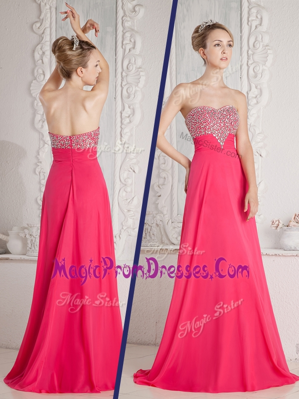 Lovely Empire Sweetheart Beading Prom Dresses in Coral Red
