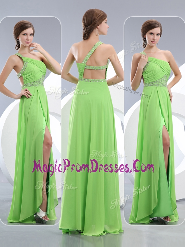 Lovely One Shoulder Spring Green Prom Dresses with High Slit