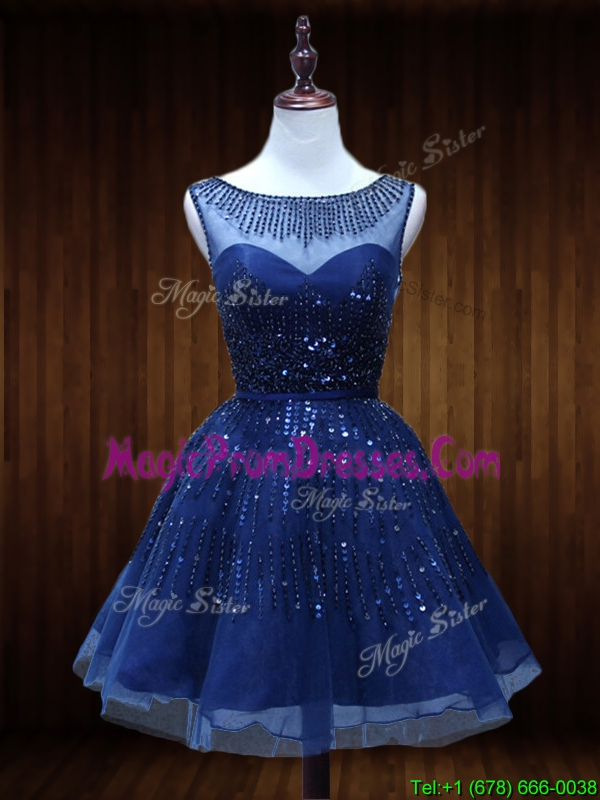 Casual See Through Beaded Short Prom Dress in Royal Blue