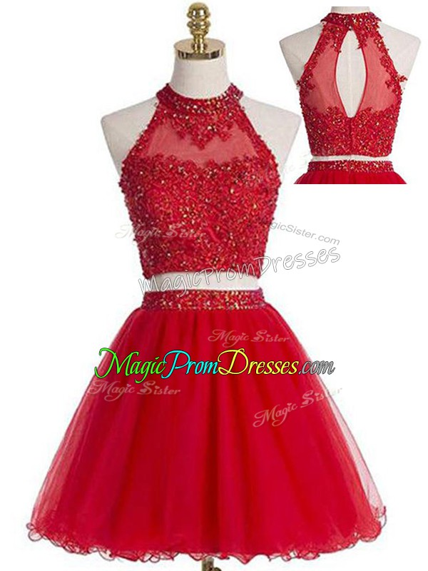 Stunning Two Pieces Prom Dress Red Halter Top Tulle Sleeveless Mini Length Zipper