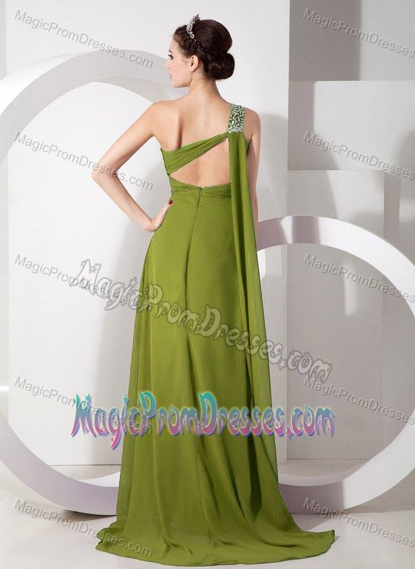 Latest One Shoulder Brush Train Prom Gown in Olive Green with High Slit