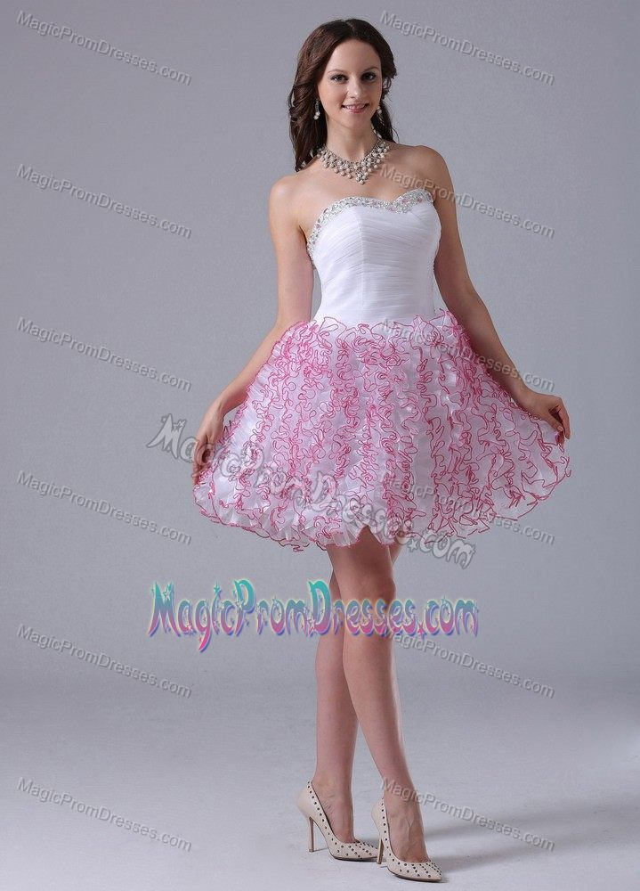 Side Zipper White Short Puffy Cocktail Prom Dress with Rhinestones