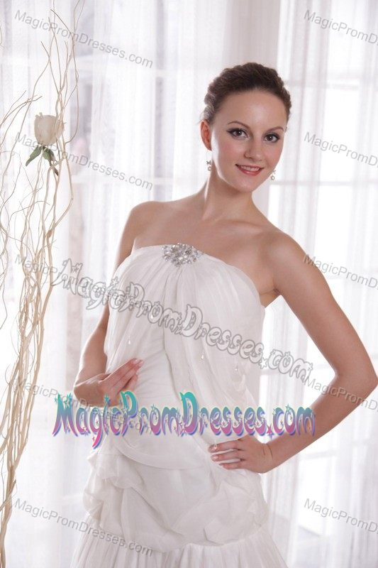 Discount Lace-up Strapless Chapel Train White Prom Dress for Wholesale