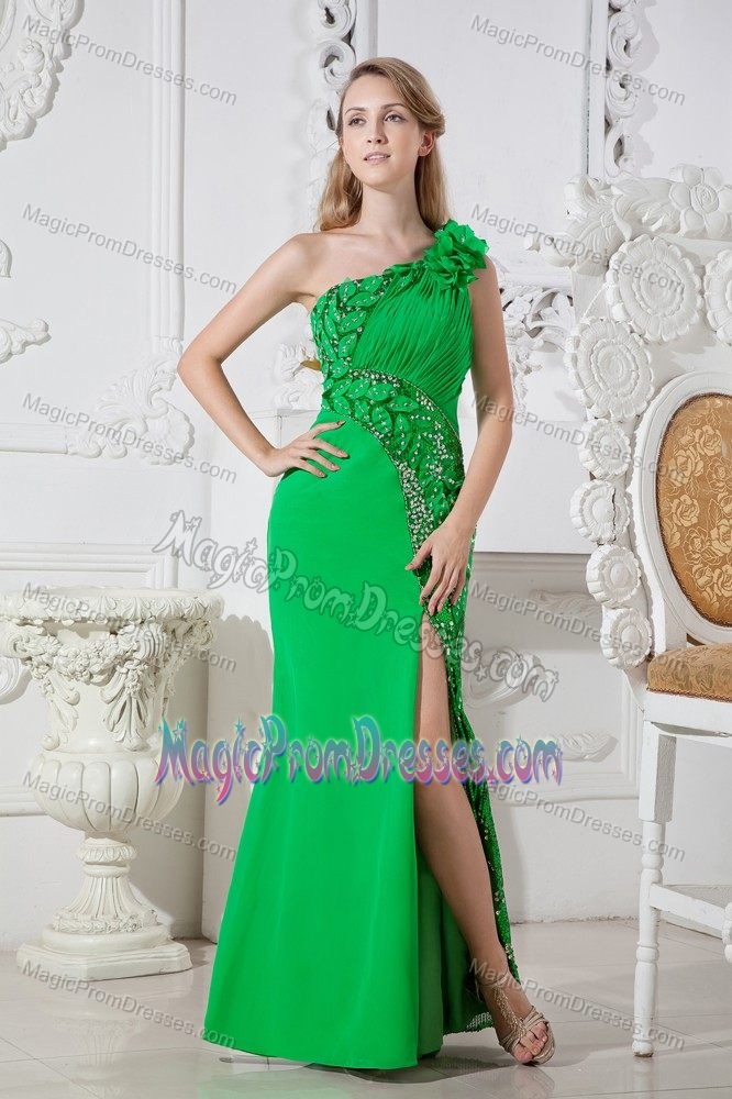 Unique One Shoulder Slitted Green Formal Prom Dresses with Flowers Patterns