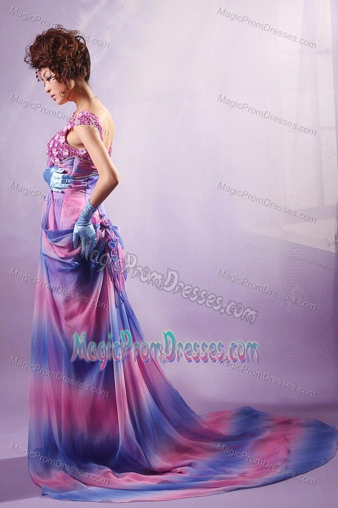 Ombre Color Scoop Cap Sleeves Court Train Prom Dresses with Appliques