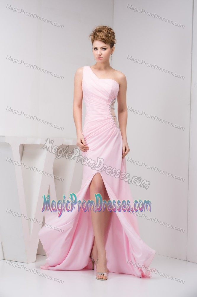 Baby Pink One Shoulder Ruched High Slit Senior Prom Dresses with Cutout