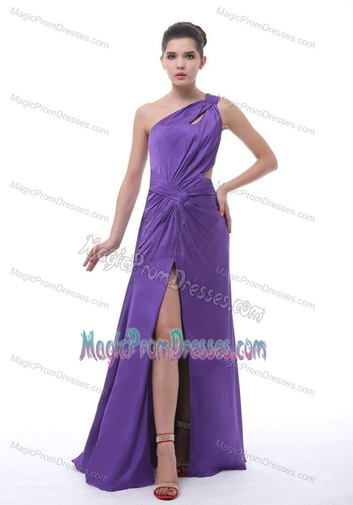 New Purple Single Shoulder Ruched Semi-formal Prom Dress with High Slit