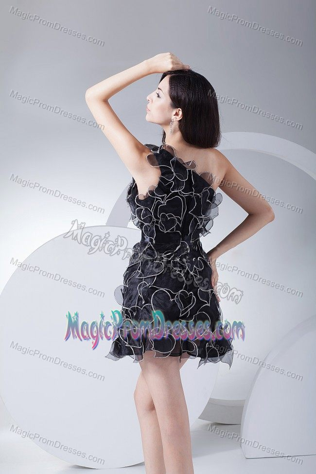 Exclusive Black One Shoulder Mini-length Senior Prom Dresses with Ruffles