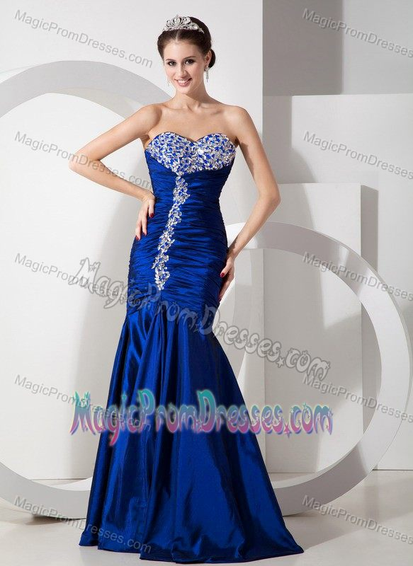 Royal Blue Dress for Prom Queen with Ruching and Beading in Mermaid