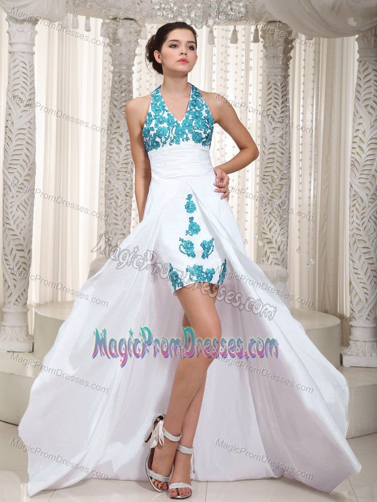 Halter High-low White Senior Prom Dress with Appliques in Indiana