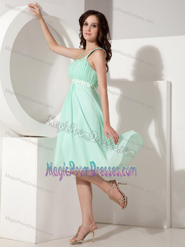 Beautiful Apple Green Knee-length Junior Prom Dresses with Beaded Straps