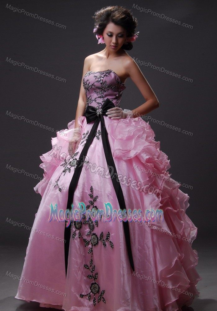 369208be26d Extravagant Baby Pink Ball Gown Formal Prom Dresses with Black Appliques