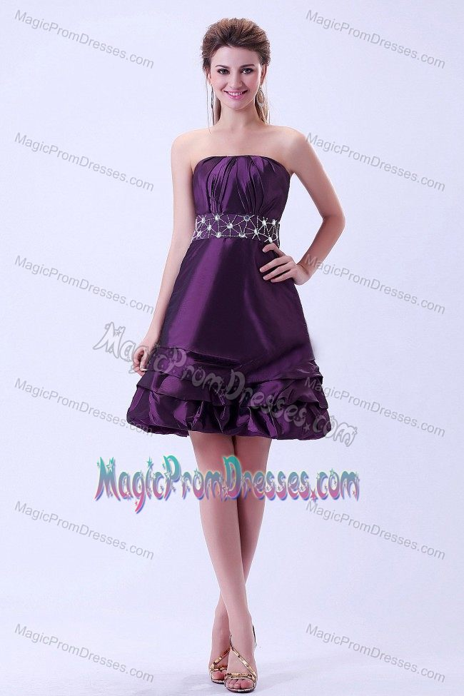 Popular Strapless Beaded Dark Purple Semi Formal Prom Dress Designer