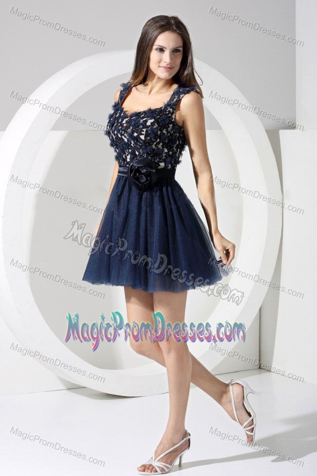 Straps Appliqued Short Navy Blue Prom Dress with Cut Out Back in ...