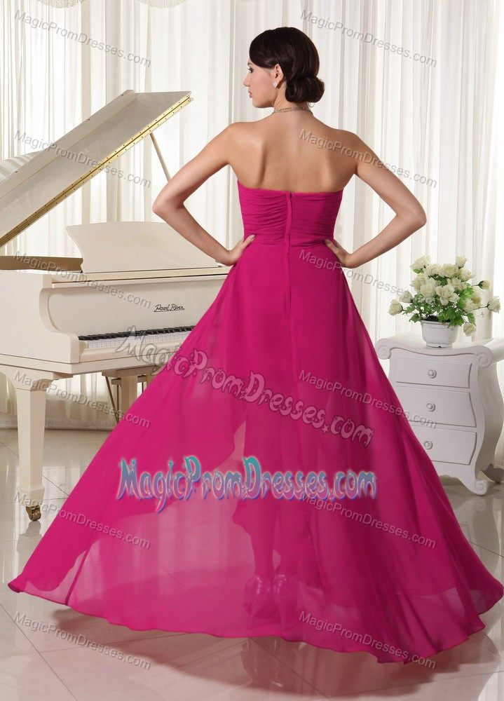 New Sweetheart Fuchsia High-low Beaded Prom Gown Dress with Ruche
