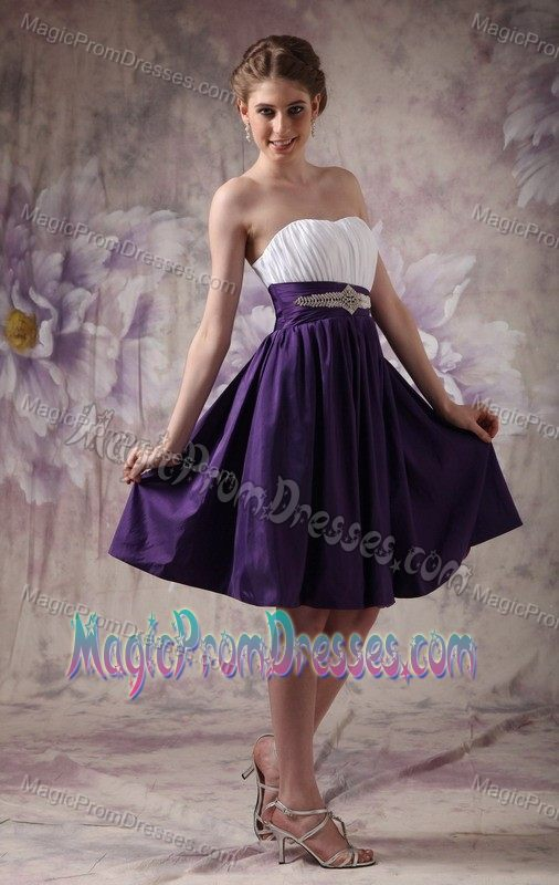 White and Purple Ruched Strapless Knee-length Prom Dress with Beading
