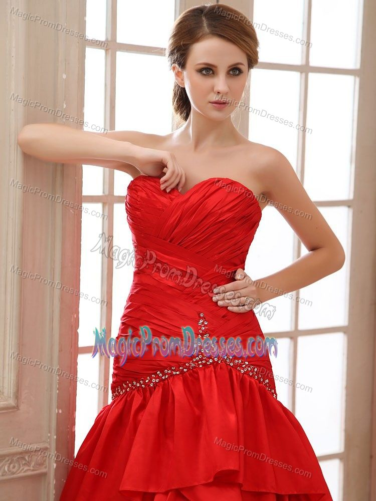 Customer Made A-line Lace-up Sweetheart Red Prom Outfits Brush Train