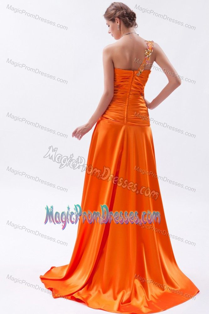 orange one shoulder high slit beaded prom gown dress with