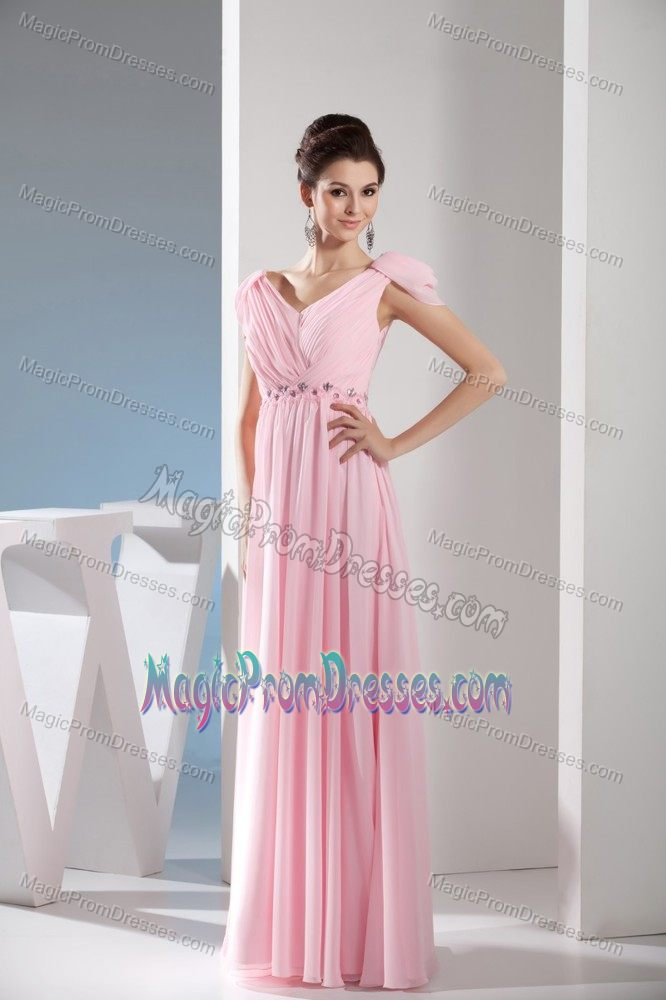 V-neck Cap Sleeves Ruched Light Pink Long Prom Dresses ...