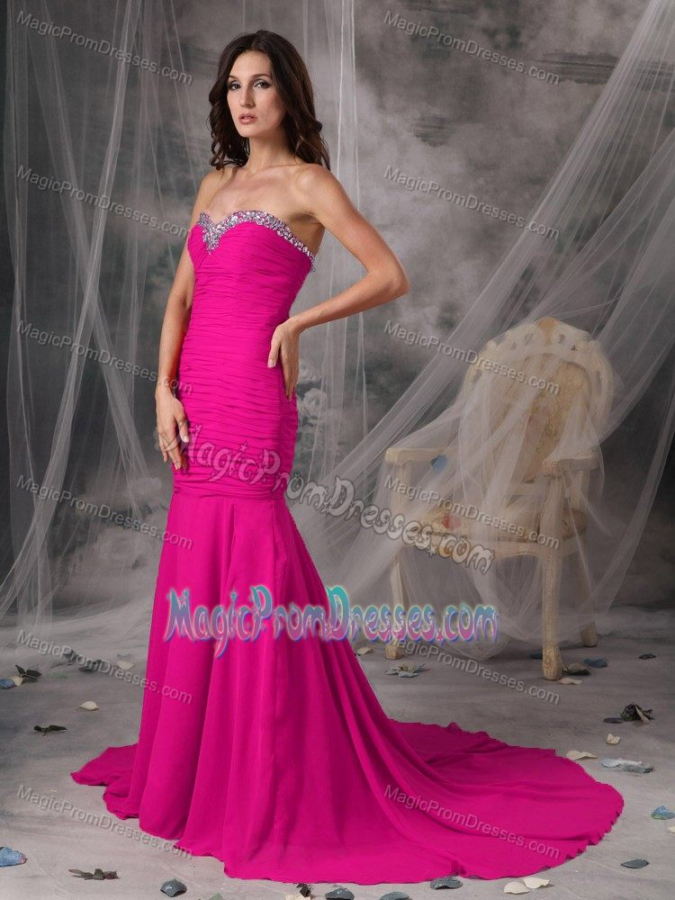 Elegant Fuchsia Beaded Sweetheart Court Train Semi-formal Prom Dress