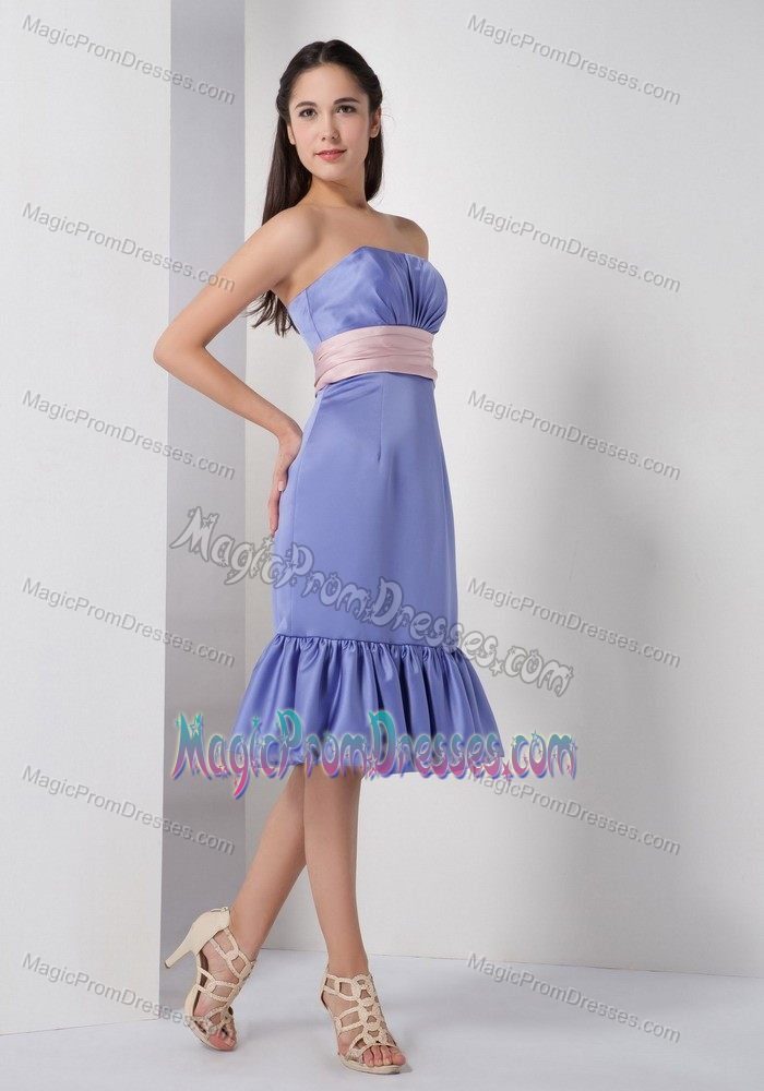 Brand New Strapless Short Lilac Prom Dress for Slim Girls with Flounced Hemline