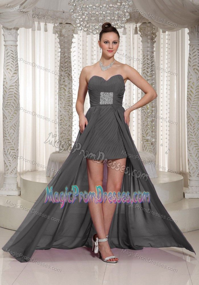 dc1dccb66f6 Modest High-low Ruched Gray Chiffon Prom Dresses for Ladies under 150
