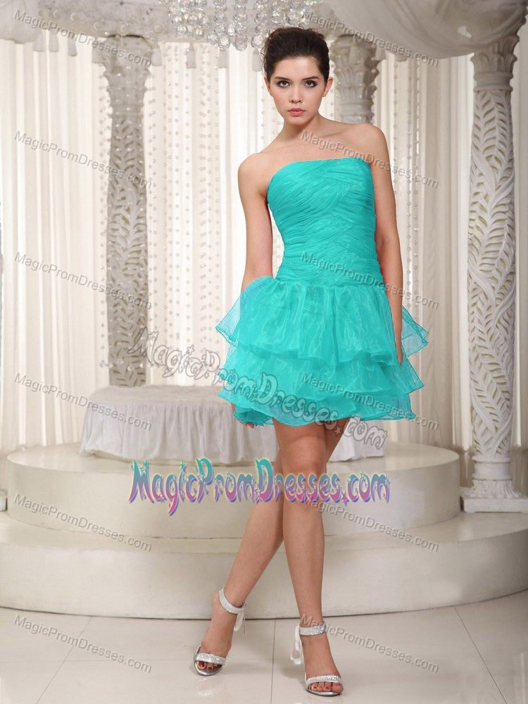 High-Class Strapless Ruffled Aqua Blue High-low Prom Dress for Wholesale
