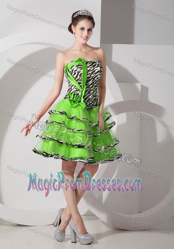 low Price Zebra Print Tiered Multi-color Short Prom Dresses for Juniors