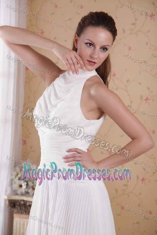 High-neck White Pleated Chiffon Formal Prom Dress with Keyhole on Back