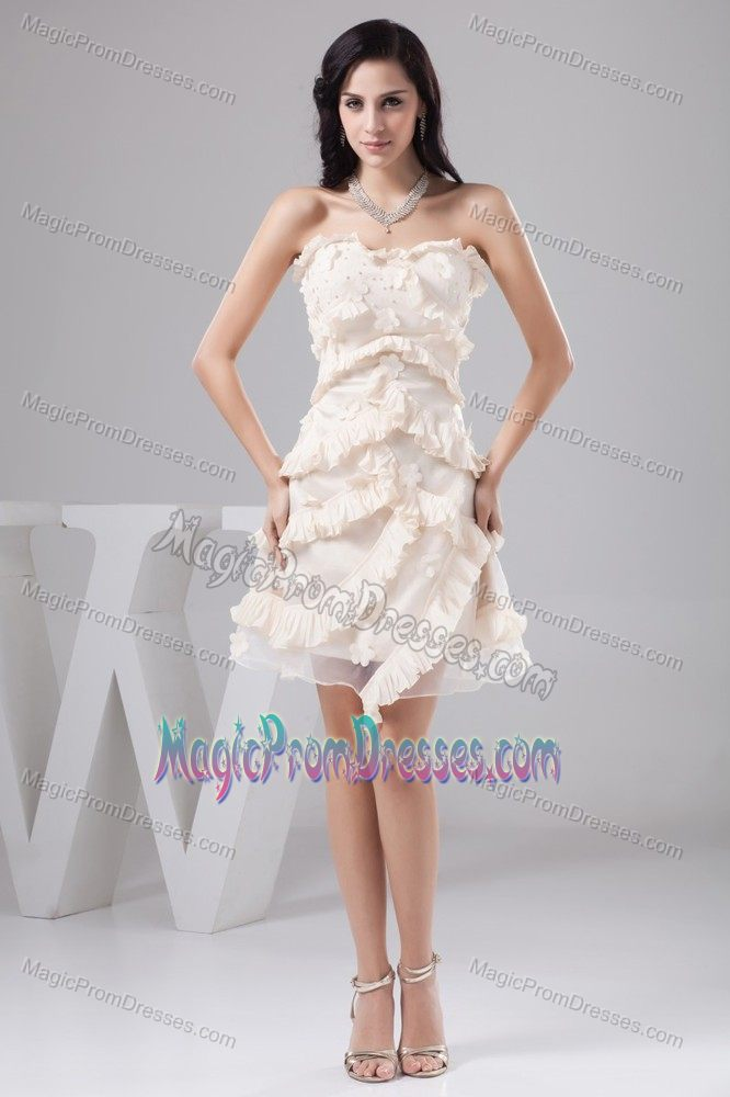 Sweetheart Cream Colored Short Prom Dresses with Beading and Flowers