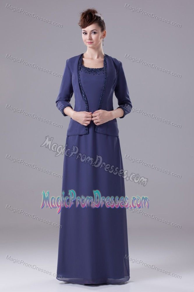Navy Blue Empire Floor-length Chiffon Prom Attires with Beading in Cary