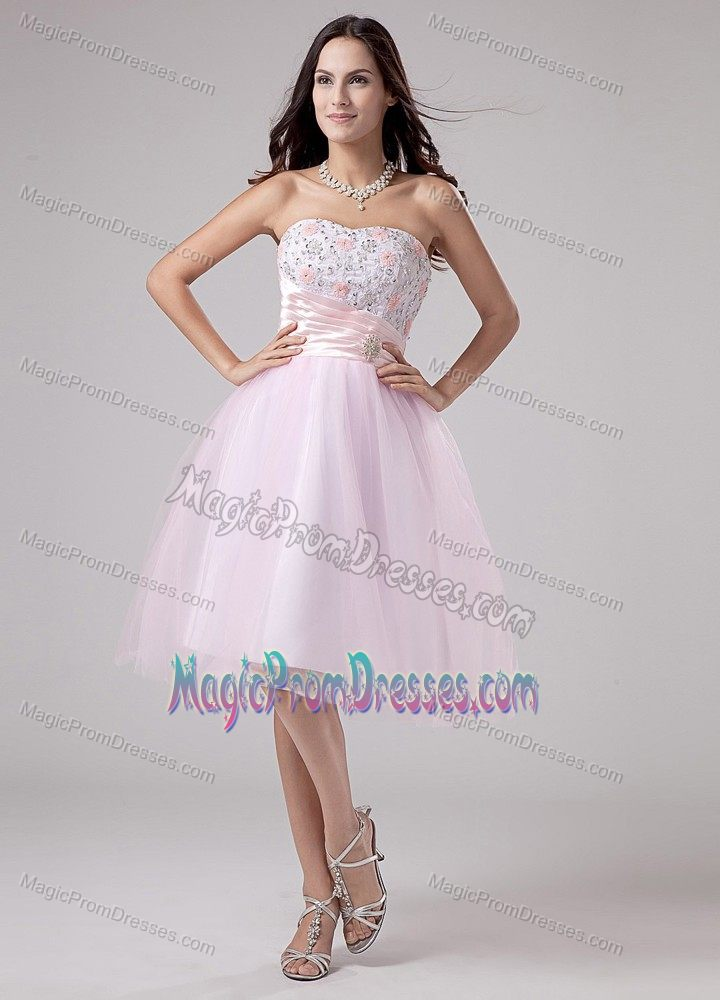 Size Appliqued Tea Length Baby Pink Puffy Prom Dress Factory