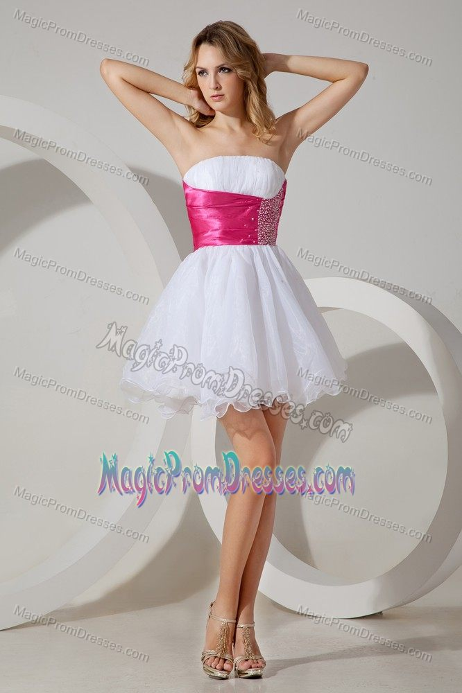 Lace-up White and Hot Pink Beaded Strapless Short Prom Gown Dresses