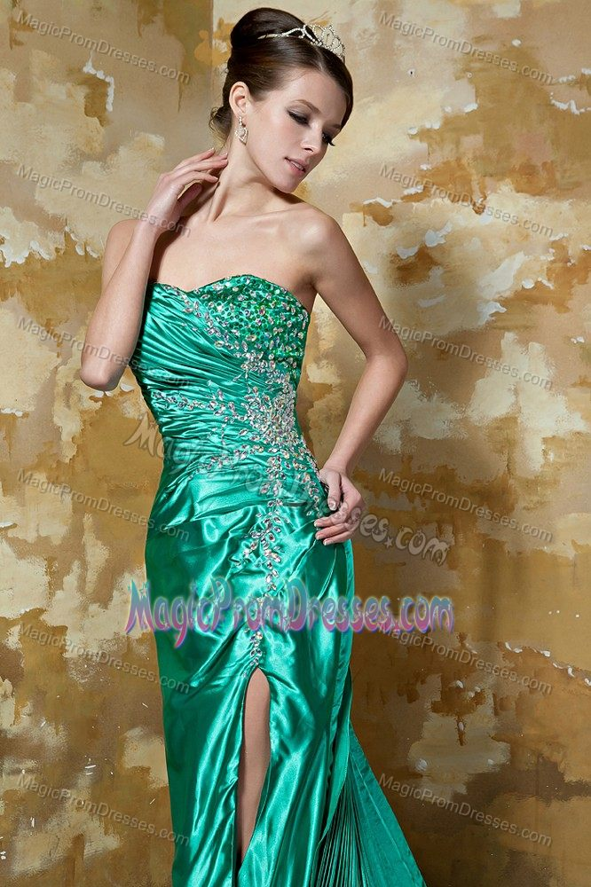 Green High Slit Beaded...