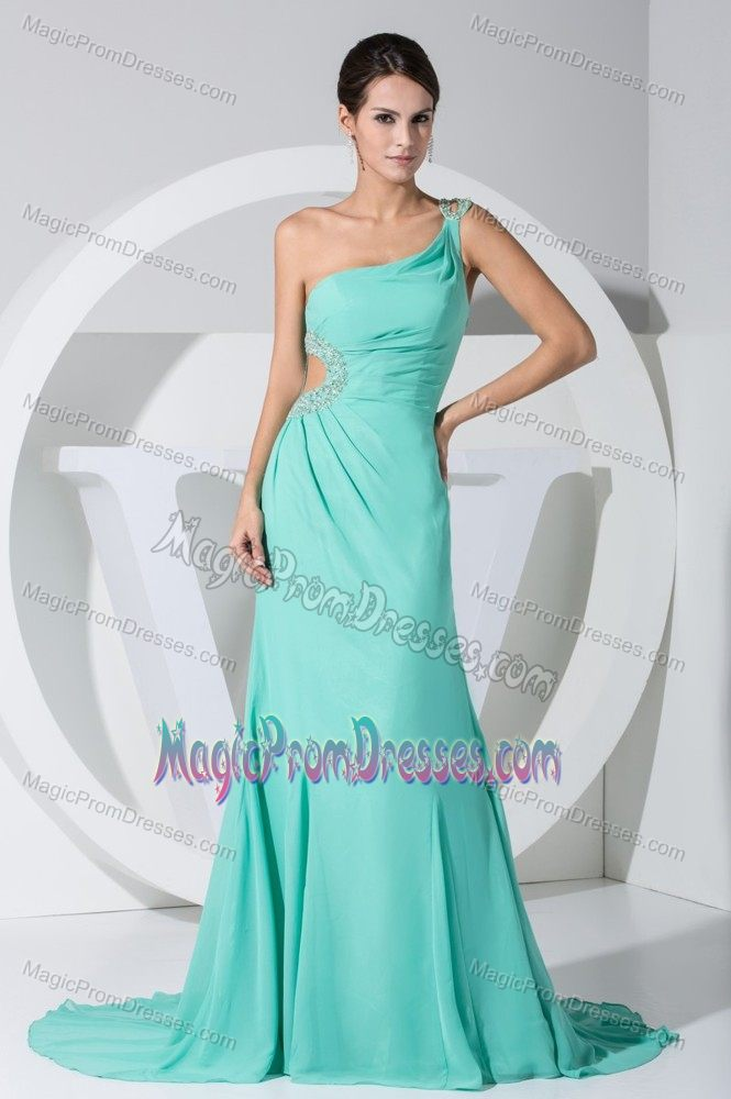 Turquoise Cutout One Shoulder Beading Prom Dress For 2014 Bismarck Nd