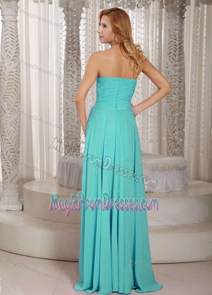High-low Prom Dress in Turquoise with Beading and Ruching in Glacier