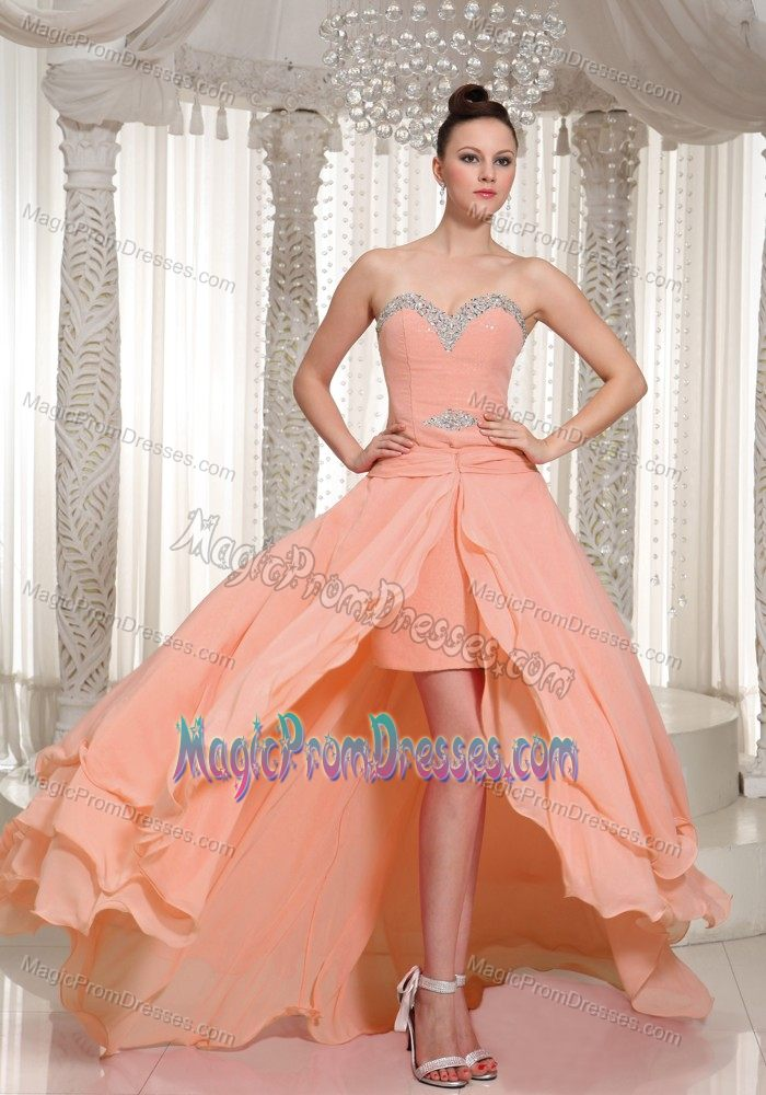 Peach High Low Prom Dress High-low prom dress in peachPeach Prom Dress High Low