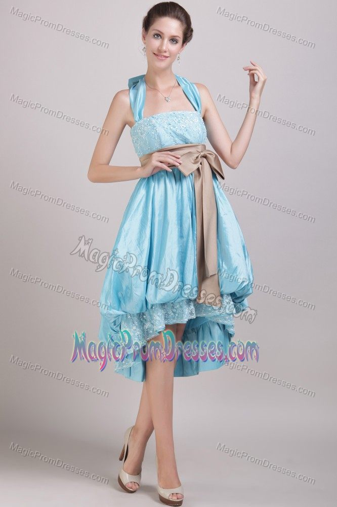 Aqua Blue Halter High-low Junior Prom Dress with Appliques and Bowknot